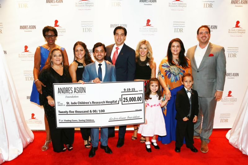 Andres Asion Foundation check for $25,000 presented to St. Jude Children\'s Research Hospital.