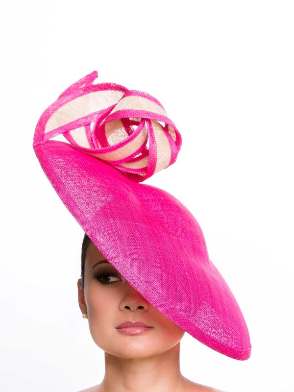 Raspberry & Nude hat by Jennifer Wrynne, Ireland $550.