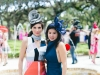Kim Caceres in vintage Hermes dress, Chanel bag. Yumi Yazawa in Acler dress, Cressida Hats fascinator